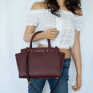 Michael Kors Selma MD Satchel Leather Bag Merlot